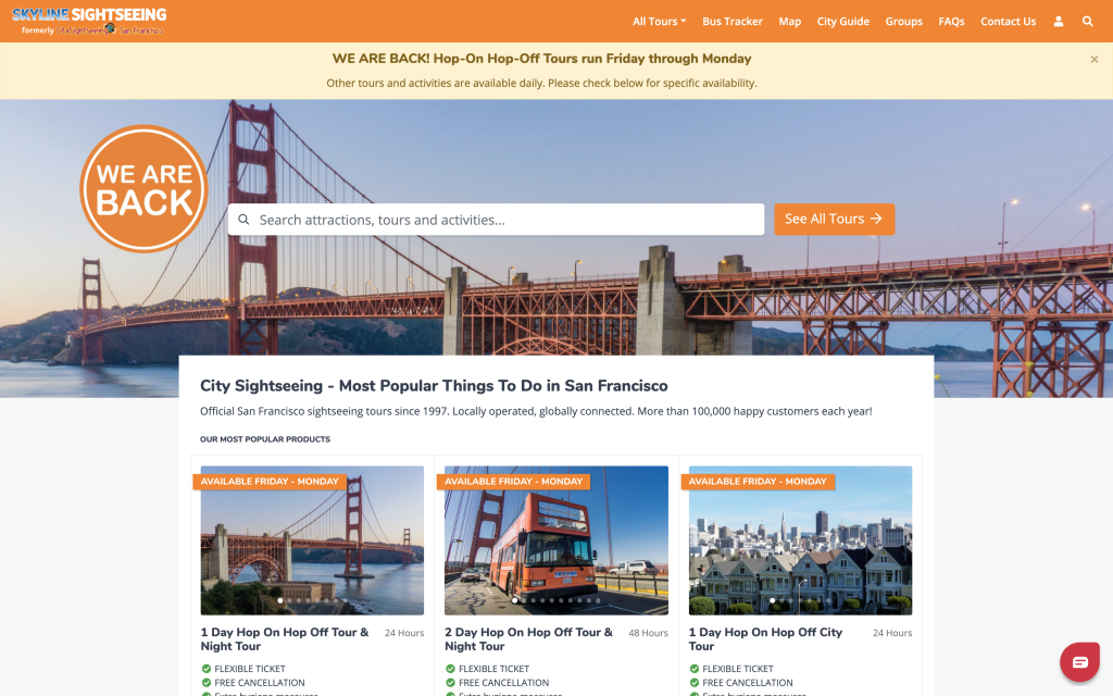 Ventrata's sites are built specifically to sell tours and attractions online conversions Ventrata's web checkouts San Francisco web checkouts Christian watts Skyline